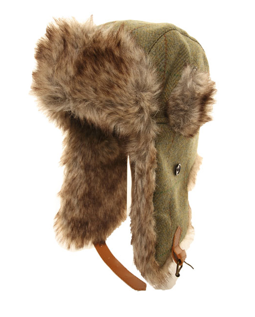 216525ebf76 Hawkins Country adults tweed trapper with fake fur trim and buckle ...